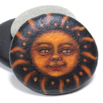 OOAK painted pebble art, original sun portrait painting on stone, unique portrait of the sun painted with acrylic colors on river stone