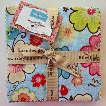 HAPPY FLAPPERS Charm Pack - 5-Inch Stacker from Riley Blake - 5-Inch Squares - Fabric Squares - Baby Girl Fabric - Owl Fabric - Girl Quilt
