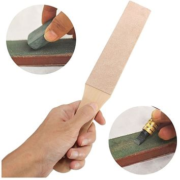 Wooden Handle Leather Sharpening Strop Handmade Razors Polishing Board For Home Tools