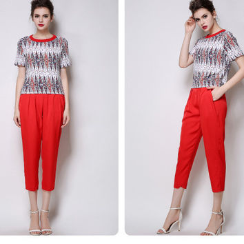 Printed Short Sleeve Top with Cropped Pants Set