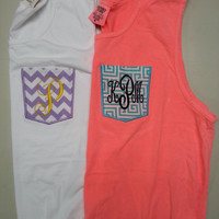 Personalized Comfort Color Tank Top Frocket Tank Monogrammed Embroider Initials or GREEK letters Applique Pocket Tank Top