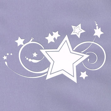 Swirls Stars Car Decal White