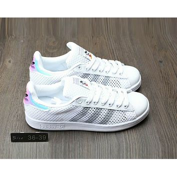 Adidas Stan Smith Popular Women Men Summer Comfortable Net Surface Breathable Flat Sport Board Shoe Sneakers White/Grey Line I-A0-HXYDXPF