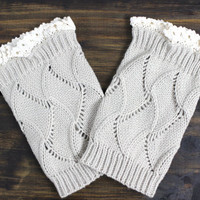 Boot Cuffs: Knit Boot Cuffs, Womens Legwarmers, Boot Socks, Lace Boot Cuffs, Beige, Ivory, Grey, Boot Socks, Womens Boot Cuffs, Womens Socks