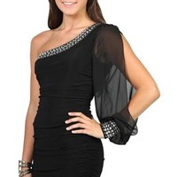 one shoulder studded club dress with double ruched sides
