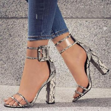 Women's Hoof High Heel Sandals with Transparent Straps (US Sizes)