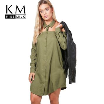 Kissmilk Plus Size Women Army Green Choker Loose Shirt Dress Button Down Off Shoulder Boyfriend Club Dress Casual Large Dress
