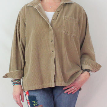 LL Bean Brown Wale Corduroy Blouse XL size Womens Casual Comfortable Shirt