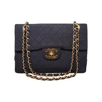 Chanel Navy Blue Woven Canvas Classic Maxi Flap Bag
