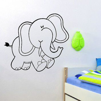 WALL DECAL VINYL STICKER ANIMAL ELEPHANT BABY ROOM NURSERY DECOR SB877