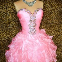 """Pink """"Glinda"""" Prom Pageant Evening Gown Short Party Cocktail Dress M 8 Medium"""