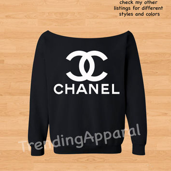 Chanel CC fan art Crew Cool slouchy off the shoulder oversized sweatshirt sweater