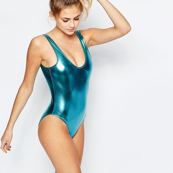 Boohoo Boutique Metallic Scoop Back Swimsuit at asos.com