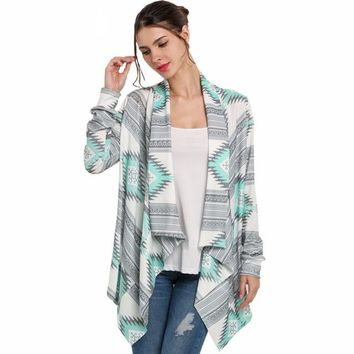 Autumn Casual Cardigan Women Collarless Long Sleeve Aztec Print Cardigans Fashion Geometric Coat Outwear Poncho Plus Size