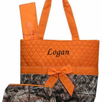 Personalized 3 Piece WOODS CAMO Diaper Bag-ORANGE