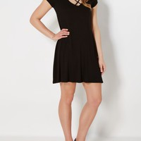 Black Caged Yoke Swing Dress | Mini Dresses | rue21