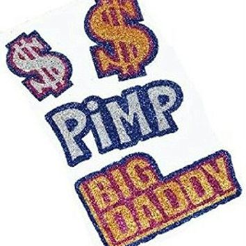 Big Daddy Glitter Pimp Temporary Tattoos Money Dollar