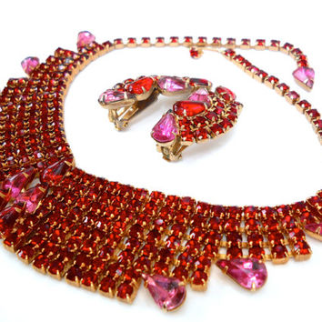 Red Art Deco Rhinestone Necklace-Earrings Set, Pink Rhinestones, Vintage Weiss