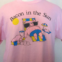 Vintage 80s BACON IN The SUN Pig Sunbathing Graphic Mens Womens Tshirt