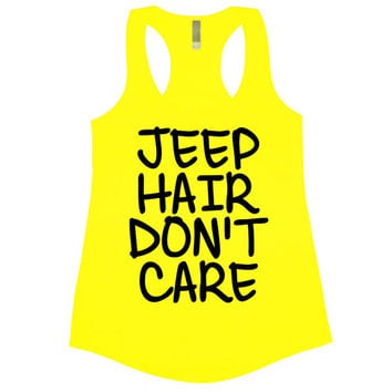 Jeep Hair Don't Care Tank Top Women's Gym Workout Fitness Booty Funny Muscle Crossfit T-Shirt