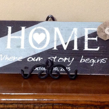 Home... Where Our Story Begins Distressed Hand Painted Wood Sign Wall Decor, Wedding Date/Shower Gift