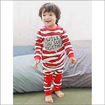 Kids Striped Letter Print Long Sleeve Pajamas - Red 130