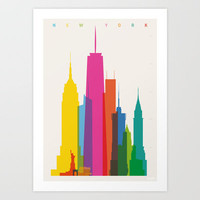 Shapes of NYC in Scale Art Print by Yoni Alter