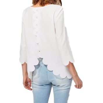 Women's White Back Scallop Edge Buttoned 3/4 Sleeve Blouse Top