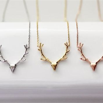 2017 trendy Deer Horn Antler Necklace Animal Antler Necklace For Women Christmas Gift
