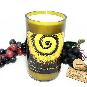 Wine Bottle Candle/Soy Wax Candle Chardonnay Wine Scent/Repurposed Satori Cellars Vino Winery Bottle/Upcycled Glass/Scented Candles