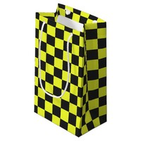 Yellow and Black Checkerboard Pattern Small Gift Bag