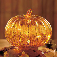 Pumpkin Antiqued Glass Lighted Harvest Accent Light Living Room Fall Home Decor