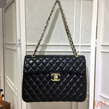 HCXX 19Aug 098 35974 Fashion Embossing Classic Logo Leather Chain Shoulder Flap Bag 33-23-10CM Black Gold