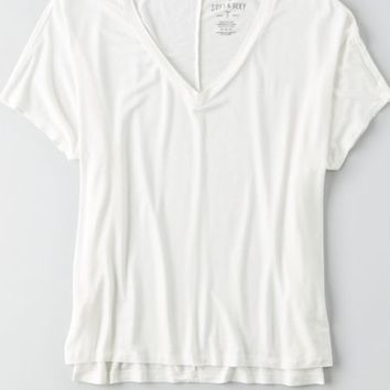 AEO Women's Soft & Sexy Boxy V-neck T-shirt (White)
