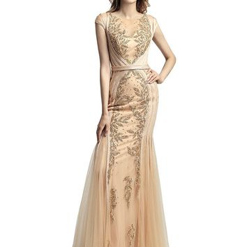 Womens Mermiad Prom Dresses Long Formal Evening Gowns Beaded Crystal Dress