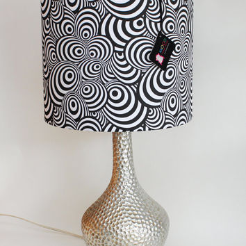 """Lamp Shade - 12"""" Drum - Black and White - Psychedelic Zebra- Organic Cotton Sateen - Washer Top / Harp Fitting"""