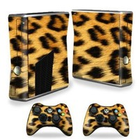 Mightyskins Protective Vinyl Skin Decal Cover for Microsoft Xbox 360 S Slim + 2 Controller skins wrap sticker skins Cheetah
