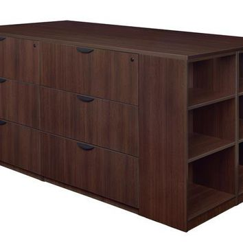 Legacy Stand Up 2 Lateral File/ Storage Cabinet/ Desk Quad with Bookcase End- Java