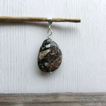 Fossil Agate Stone Pendant Nature's Gift and Beauty - by Off on a Whim - Made in Japan