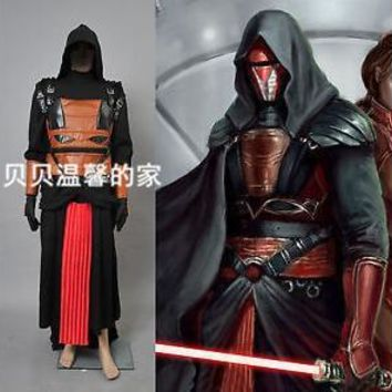 Star Wars Darth Revan Black Outfit Cape Cloak Cosplay Costume Custom Made