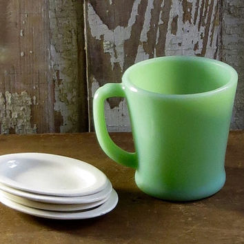 Vintage Fire King Jadeite Mug, Fireking Jadeite Green, Coffee Cup, Retro Dinnerware, Cottage Dining, Diner Decor, Farmhouse Tableware