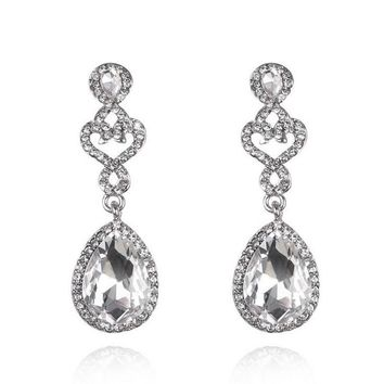 Long Crystal Earrings For Women Fashion Wedding Jewelry Full Rhinestone Filled Hollow Out Crown Vintage Big Water Drop Earring