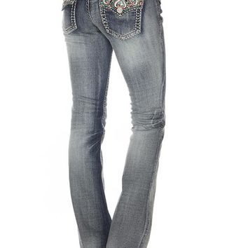Grace in LA Baby Boot Scroll Jeans