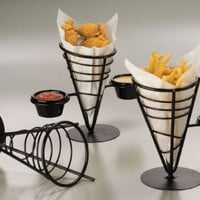 American Metalcraft (FBC92) 1 Cone Wrought Iron Conical Basket w/ 2 Ramekin Holders