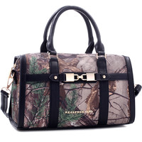 Realtree Girl® Linked Padlock Barrel Satchel with Detachable Shoulder Strap