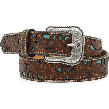 Ariat Men's Floral Embossed Turquoise Underlay Belt
