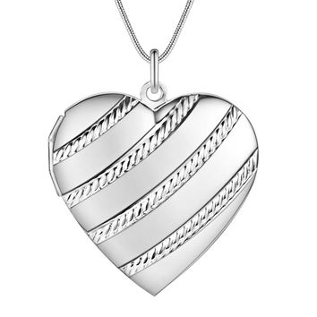 ON SALE - Rope Motif Sterling Silver Heart Locket Necklace