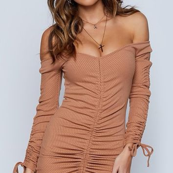 Slinky Minx Long Sleeve Off The Shoulder Ribbed Ruched Bodycon Casual Mini Dress - 2 Colors Available