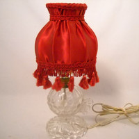 Vintage Victorian Underwriters Lab Glass Crystal Lamp With Red Lamp Shade