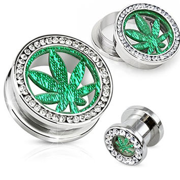0 Gauges Stainless Steel Clear Gem with Glitter Pot Leaf Screw Fit Tunnel 8mm - Sold As a Pair